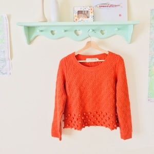 La Chapelle Sport Orange sweater with Pom poms